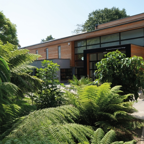 Exterior of design building at Falmouth campus