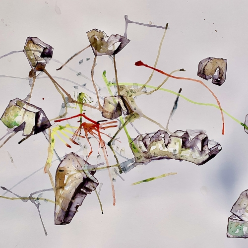 Drawing of stone and splashes of paint