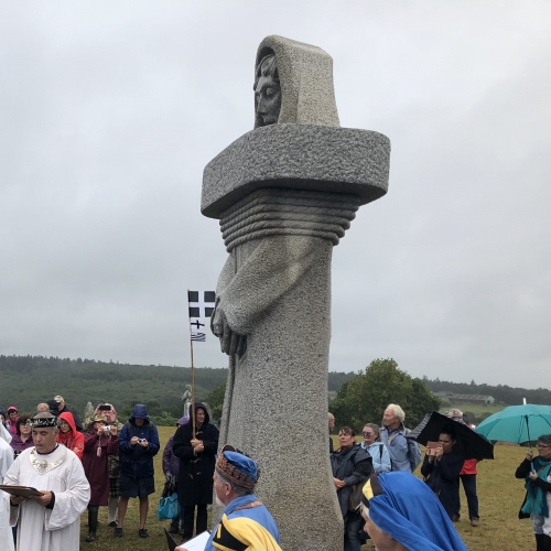 Cornish festival with people dressed in cloth robes