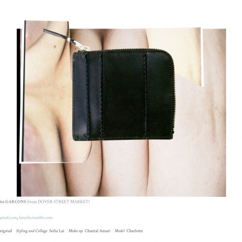 Image of nude body creases with cut out of black leather wallet on top.