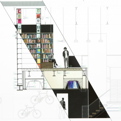 Plan for a book shop interior, just a cross section coloured and bikes featured.