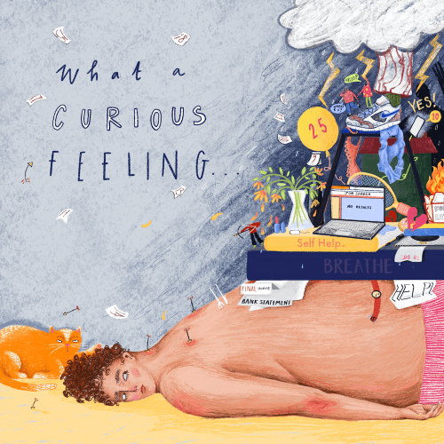 Falmouth University Illustration artwork of a person lying on the floor with books and objects on top of the person.