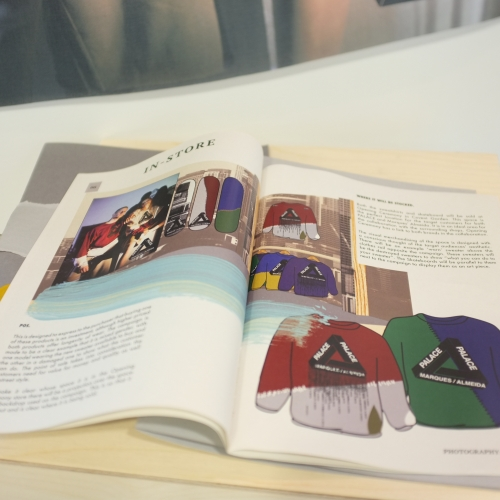 Editorial featuring skateboard and sweatshirts designs.
