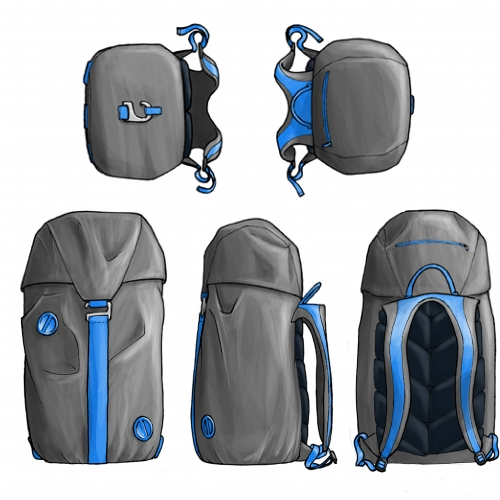 Digital designs for a grey and blue backpack.