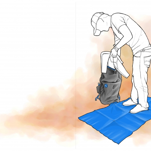 Drawing of figure standing on a blue mat and pulling something out of a rucksack.
