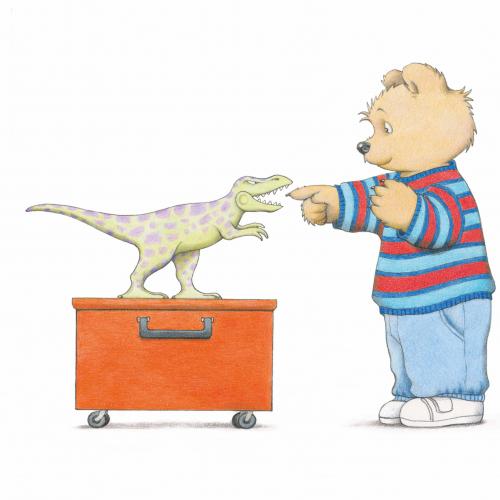 Jill Murphy illustration of bear pointing at dinosaur