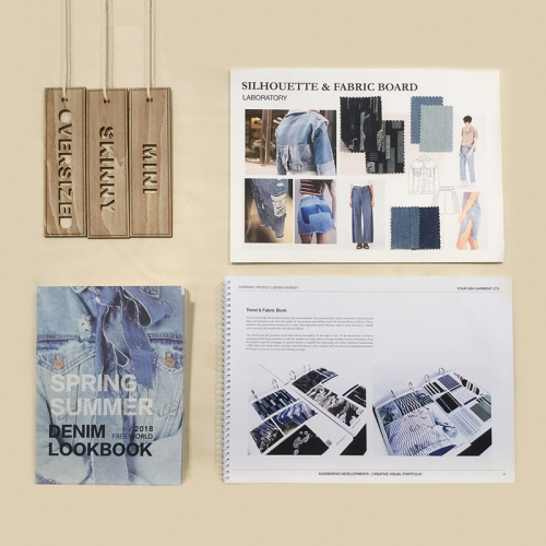 Denim moodboards and lookbook, laser cut wooden tags.