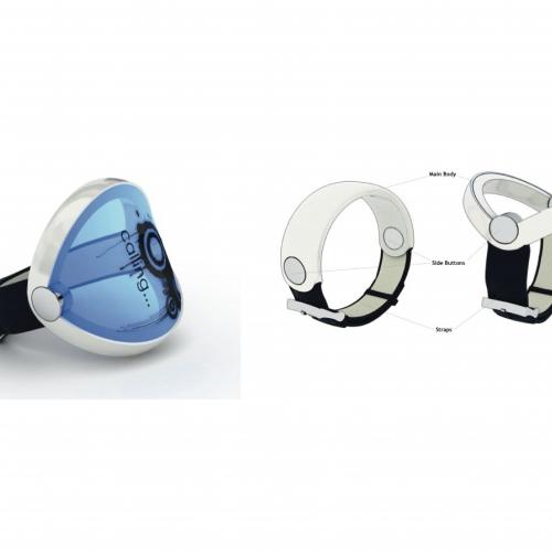 Wrist device with blue window.
