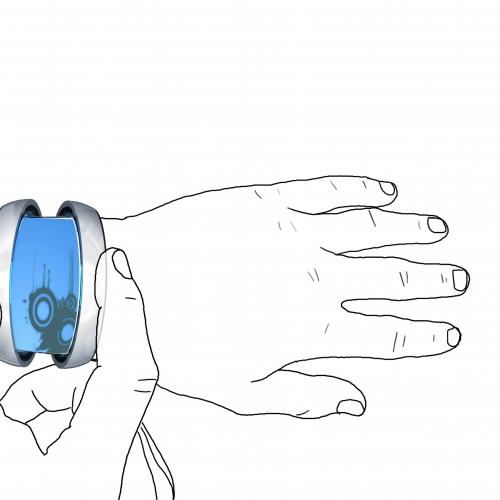 Wrist phone device that has blue window.