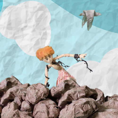 Animation of figure climbing on rocks