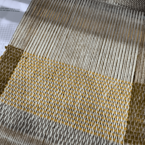 Brown weaved fabric by Falmouth University Textiles student