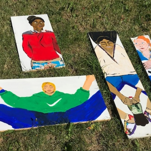 Canvases on grass