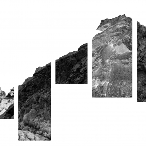 Black and white mountain image sectioned into rectangles.