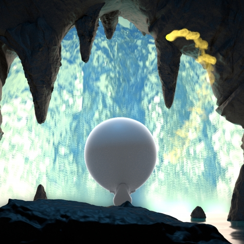 Animation of cave and waterfall