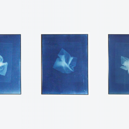 Tryptic of blue light drawings