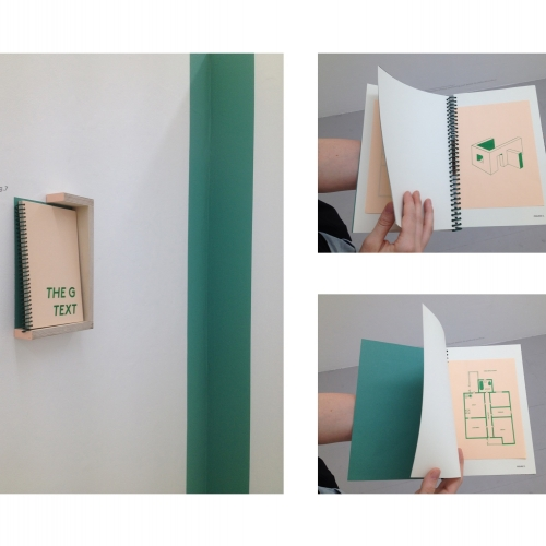 Pale pink and green book and spreads with structural diagrams.