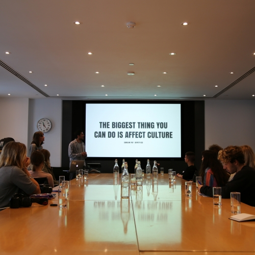 Meeting room on studio visit, The biggest thing you can do is affect culture on displayed slide.