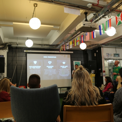 Back of students heads listening to presentation London design studio