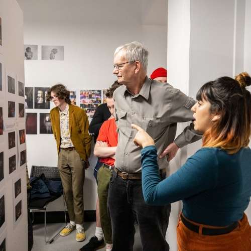 Martin Parr looking at student work