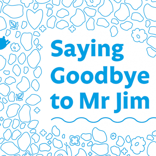 Poster image of blue outlines with the title Saying Goodbye to Me Jim
