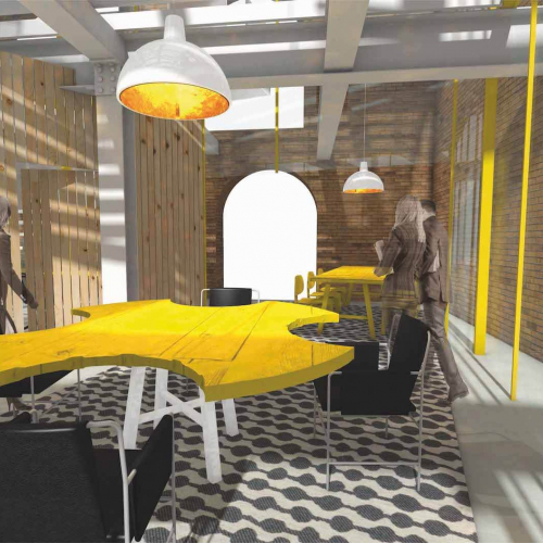 Digital artwork of interior with yellow table and black chairs with wooden and brlck walls