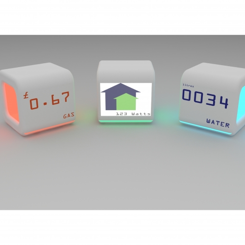 3 cube lights that measure gas, electricity and water.