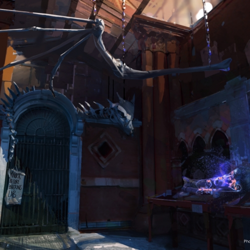 Derelict building scene, dragon skeleton and unusual bones.