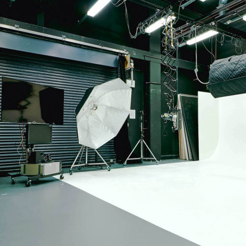 Falmouth University photography studio facilities with lighting equipment