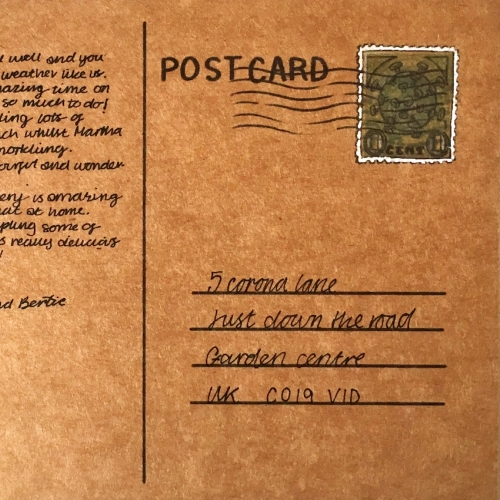 Back of postcard with stamp