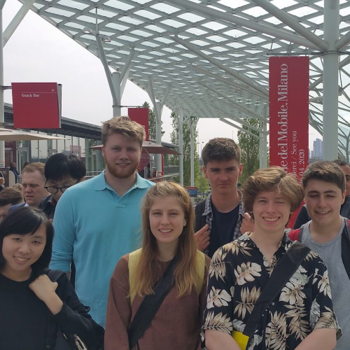 A group of Sustainable Product Design students outside the International Salone del Mobile