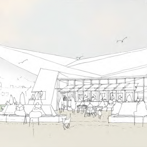 Design drawing of modern building with wings
