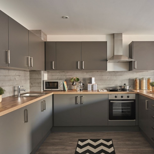 Kitchen interior with grey cupboards and wooden worktops