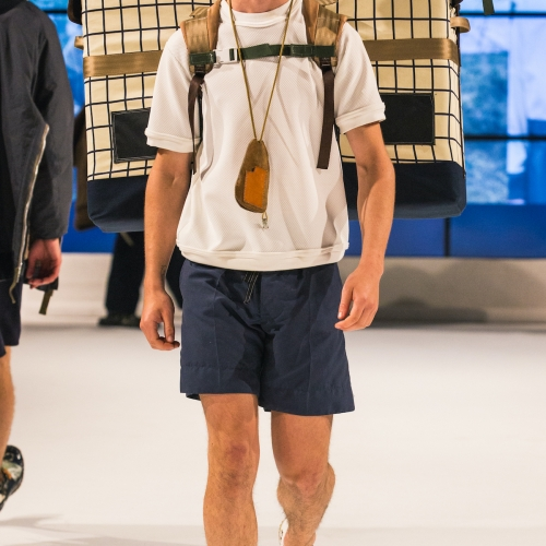 Model wears sportswear design by Siu Jeffrey at fashion show