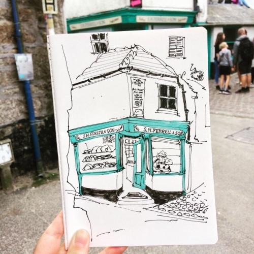 Sketch of a bakery shop window