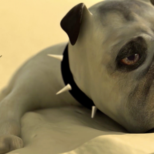 Digital animation of an English bulldog lying on sand.