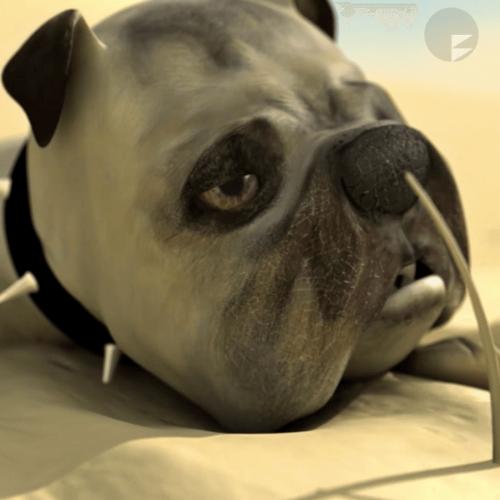 Digital animation of an English bulldog lying on sand.