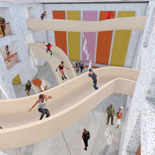 Interior visual of building with walkways across that skaters are whizzing down.