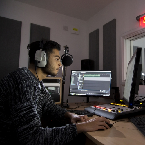 Student working in editing studio.