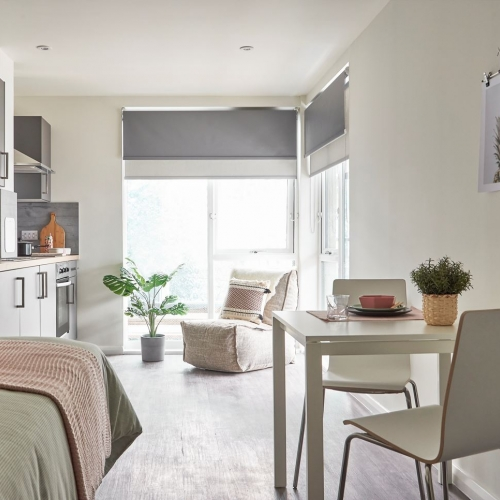 Studio apartment with bed, dining table and kitchen