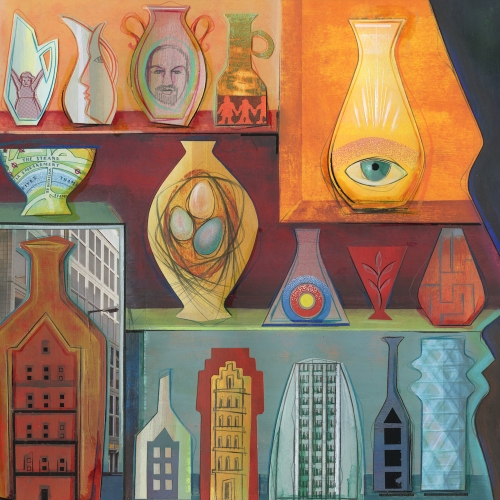 Artwork of shelves with different vases on them