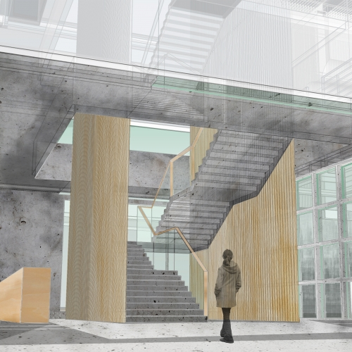 Mock-up interior with girl walking towards staircase and wooden screens.