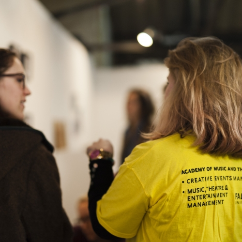 Students at a Taboo exhibition organised by Creative Events management students
