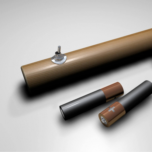 A wooden torch design with batteries