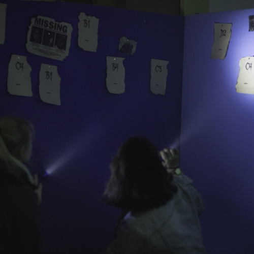 Guests shining torches at clues on wall at Escape Room event
