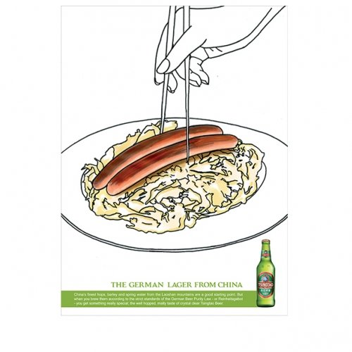 "Advert for lager of chopsticks picking up sausages and the words ""German lager from China""."