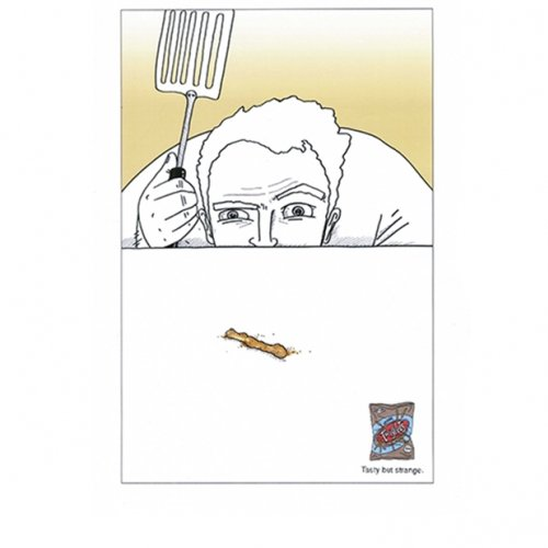 Advert for Twiglets with illustration of man with a spatula looking like he's about to swat a Twiglet like a fly.