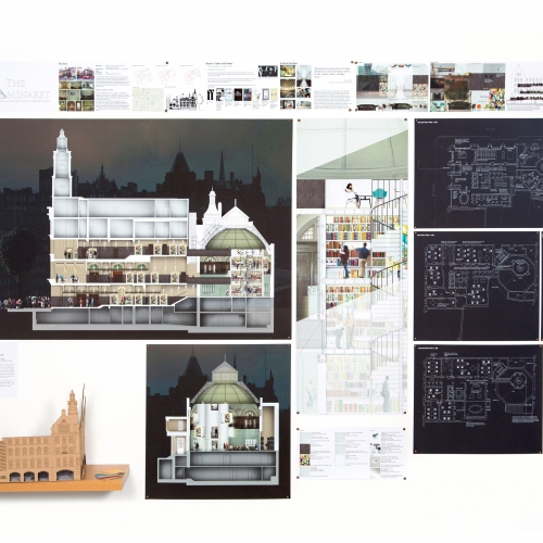 Display of various mock ups and illustrations of buildings and interiors.