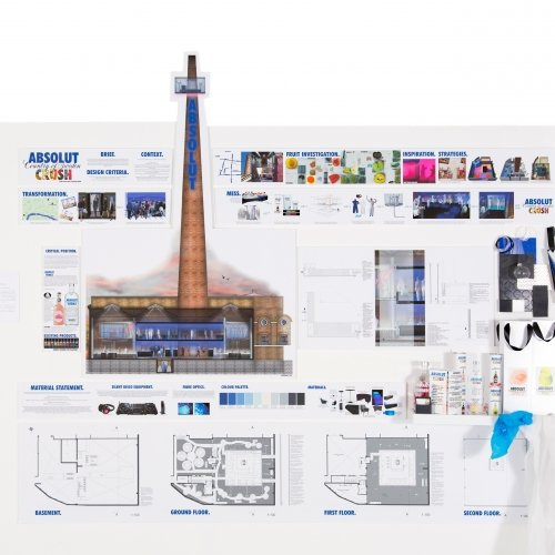 Floor plans and mood board for an Absolut vodka building and tower.