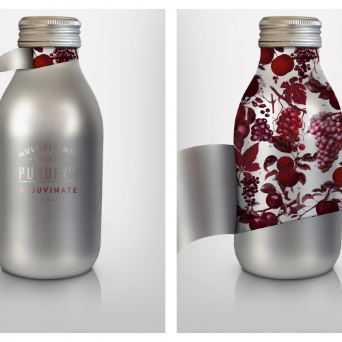 Silver metal bottle peeling back to reveal red coloured berries and fruit and leaves.