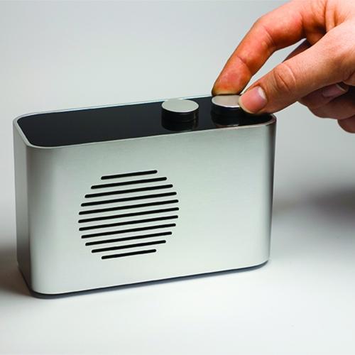 Simple silver radio.